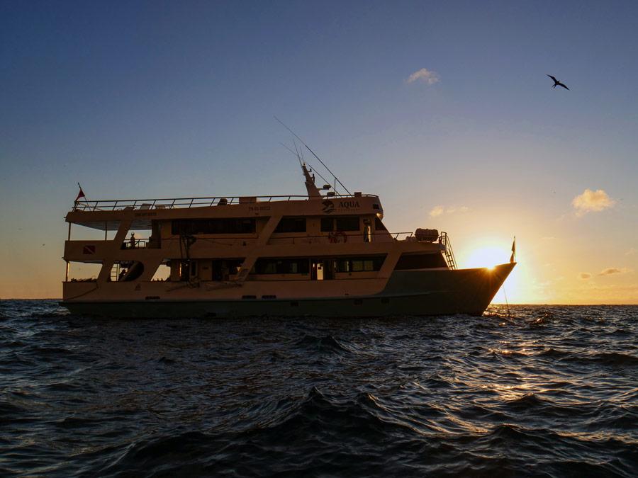 Aqua Yacht exterior Galapagos Islands sunset