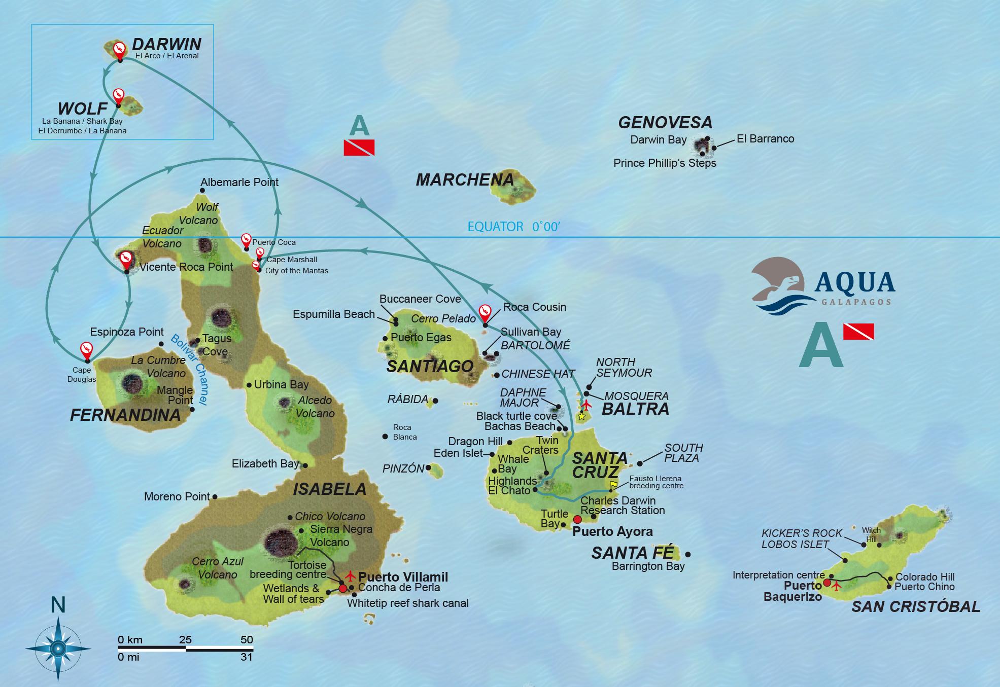 Route Scuba Diving Galapagos Ecuador ATC Cruises Safe travels Aqua yacht