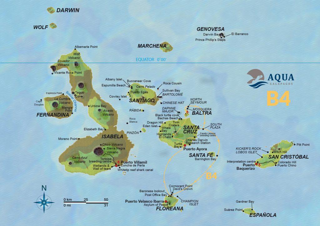 Route Naturalist Galapagos Ecuador ATC Cruises Safe travels Aqua yacht Baltra Santa Cruz Floreana