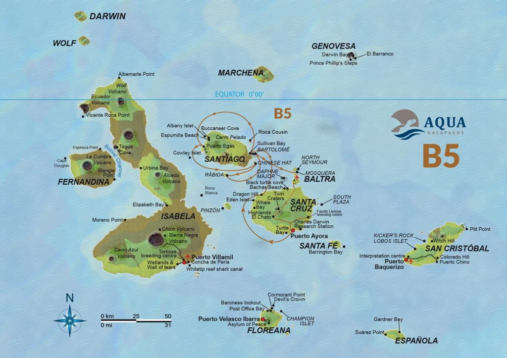 Route Naturalist Galapagos wildlife Ecuador ATC Cruises Safe travels Aqua yacht Baltra Santa Cruz Floreana